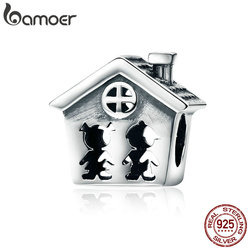 BAMOER 100% 925 Sterling Silver Perfection Sweet Home Family Together Forever Charm Beads fit Charm Bracelet Gift S925 SCC541
