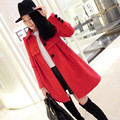 Korean version of the pregnant women new winter woolen coat long woolen coat lapel woolen cape women skirt maternity clothes