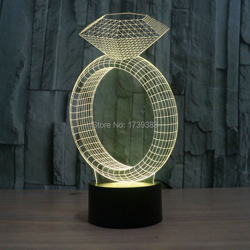 7 Color Change Desk Lamp LED Table Light Intelligent Remote Control 3D Illusion Ring with Diamond Night Light effect model