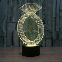 7 Color Change Desk Lamp LED Table Light Intelligent Remote Control 3D Illusion Ring with Diamond Night effect model