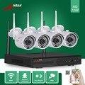 4ch p2p nvr anran 720 p hdmi wifi rede ir ao ar livre à prova d' água Home CCTV Sistema De Segurança De Vídeo 1.0 MP Câmera IP Sem Fio NVR Kit