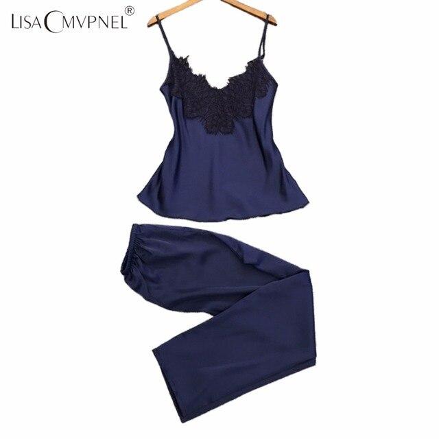 Lisacmvpnel Soft Breathable Women Pajamas Rayon Spaghetti Strap Nightdress+Long Style Pant Set Casual Women Pajama Set