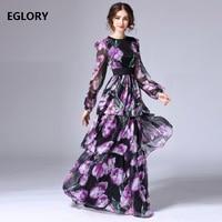 High Quaity Womens Fashion Plus Size Long Dress 2018 Spring Summer Autumn Flower Print Long Sleeve Maxi Dress 7xl 6xl 5xl 4xl