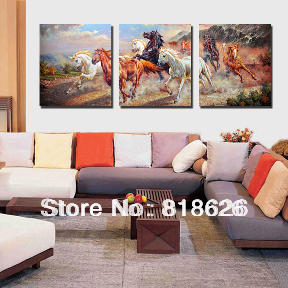 3 Panels Modern Canvas Horse Painting Large Wall Hunging