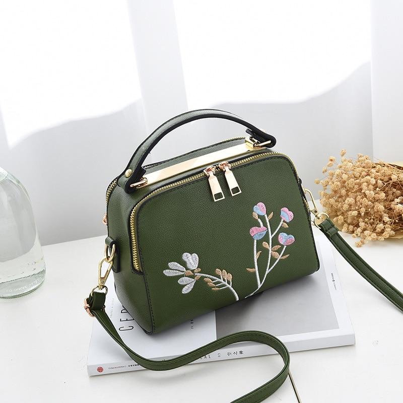 2019 Fashion Bags for Women Double Layer Handbags Mini Shell Embroidery Bags Zipper Sweet Shoulder Messenger Bag Bolsa Feminina