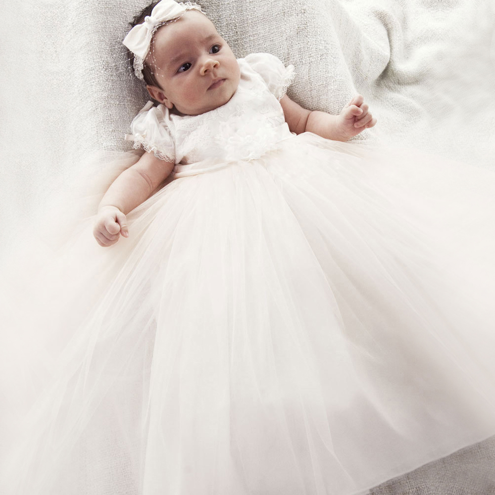 With Bonnet White and Ivory Baby Christening A-Line Short Sleeves Appliques Formal Baby Baptism Dresses Gown Vestido Batizado