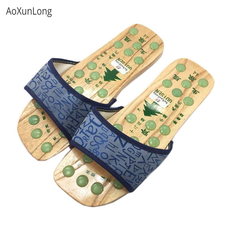 Unisex Fine Imitation Jade Massage Slippers Men Indoor Acupressure Massage Home Slippers Summer Wood House Slippers EU 40-44 Hot