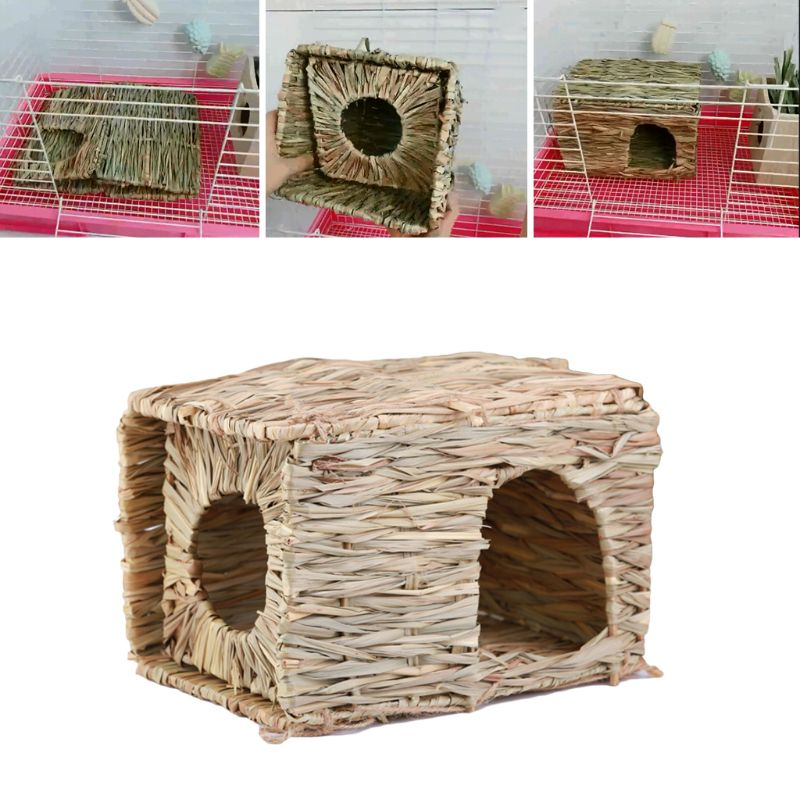 Natural Folding Straw House Thatched Cottage DIY Rabbit Hamster Hedgehog Guinea Pig Chew Toys Handmade Grass