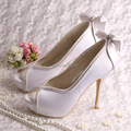 (20 Colors)Designer Peep Toe White Satin Bridal Shoes Wedding High Heel for Women
