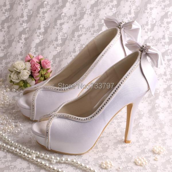 (21 Colors)Designer Peep Toe White Satin Bridal Shoes