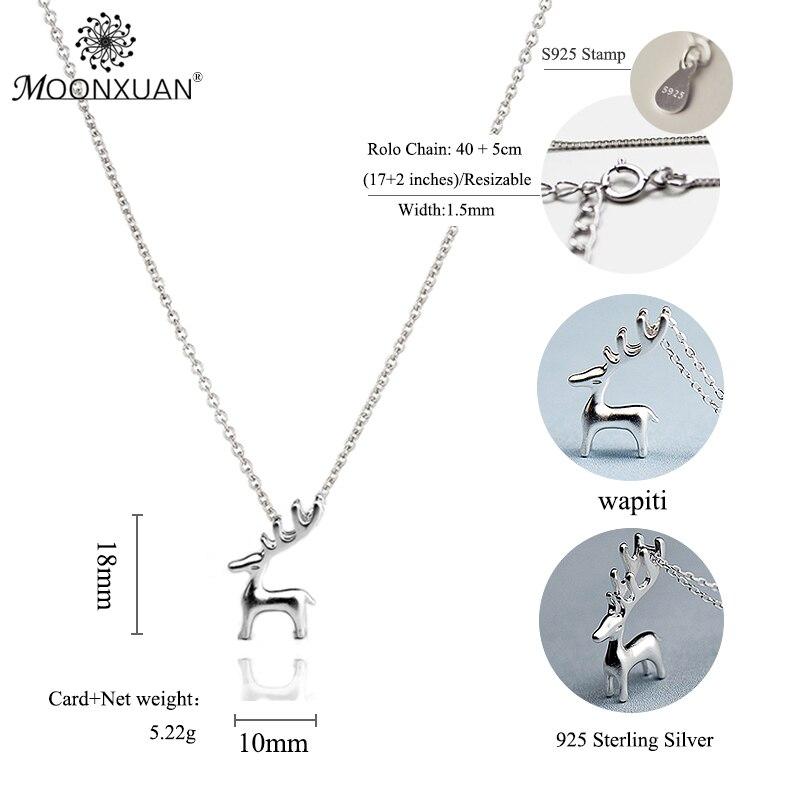 925 Sterling Silver Fashion Solid Elk Collares Colgantes Cadenas de - Joyas - foto 2