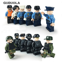 Guduola 12pcs lot Building Blocks Figures brick DIY toys Compatible Legoing Figures Police military soldier for