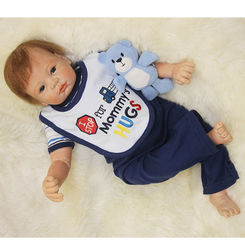 Cloth Body Reborn Babies Boy Newborn Doll 22 Inch Realistic Silicone Baby Dolls Lifelike Toy With Mohair Kids Birthday Xmas Gift pink romper 20 inch reborn babies girl lifelike silicone newborn dolls realistic doll toy with blue eyes kids birthday xmas gift