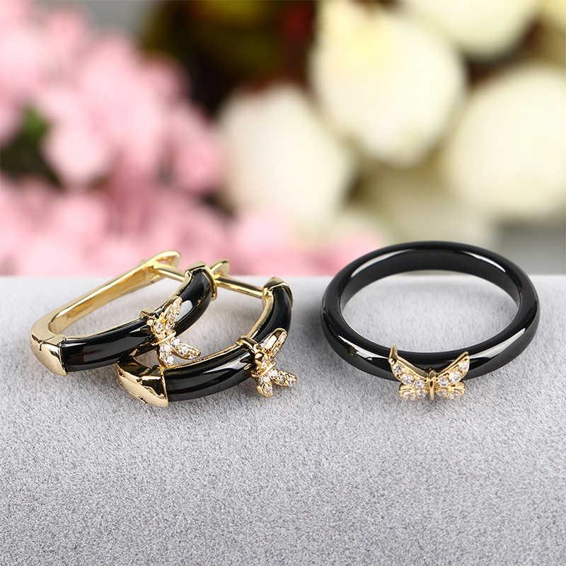 Schmetterling Form Schmuck Sets Für Frauen Hochzeit Dubai Braut Afrikanische U Form Stud Ohrringe Keramik Ringe Schmuck Set Schmuck