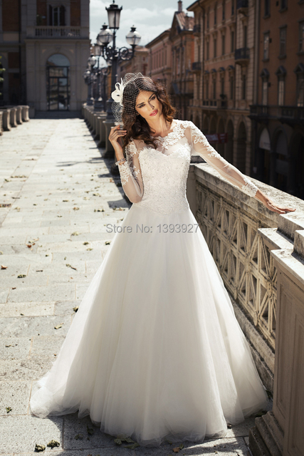 White Lace Wedding dress 2015 Long sleeves A Line stunning Organza ...