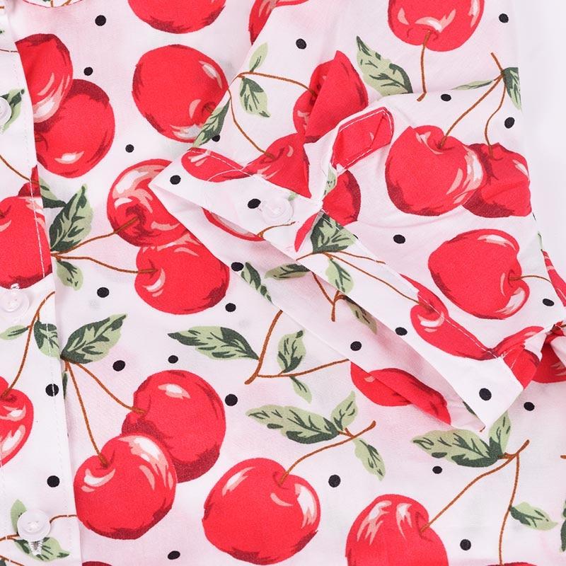 QIHUANG vrouwen vrolijke bloemen bedrukte blouse shirt met korte mouw - Dameskleding - Foto 4