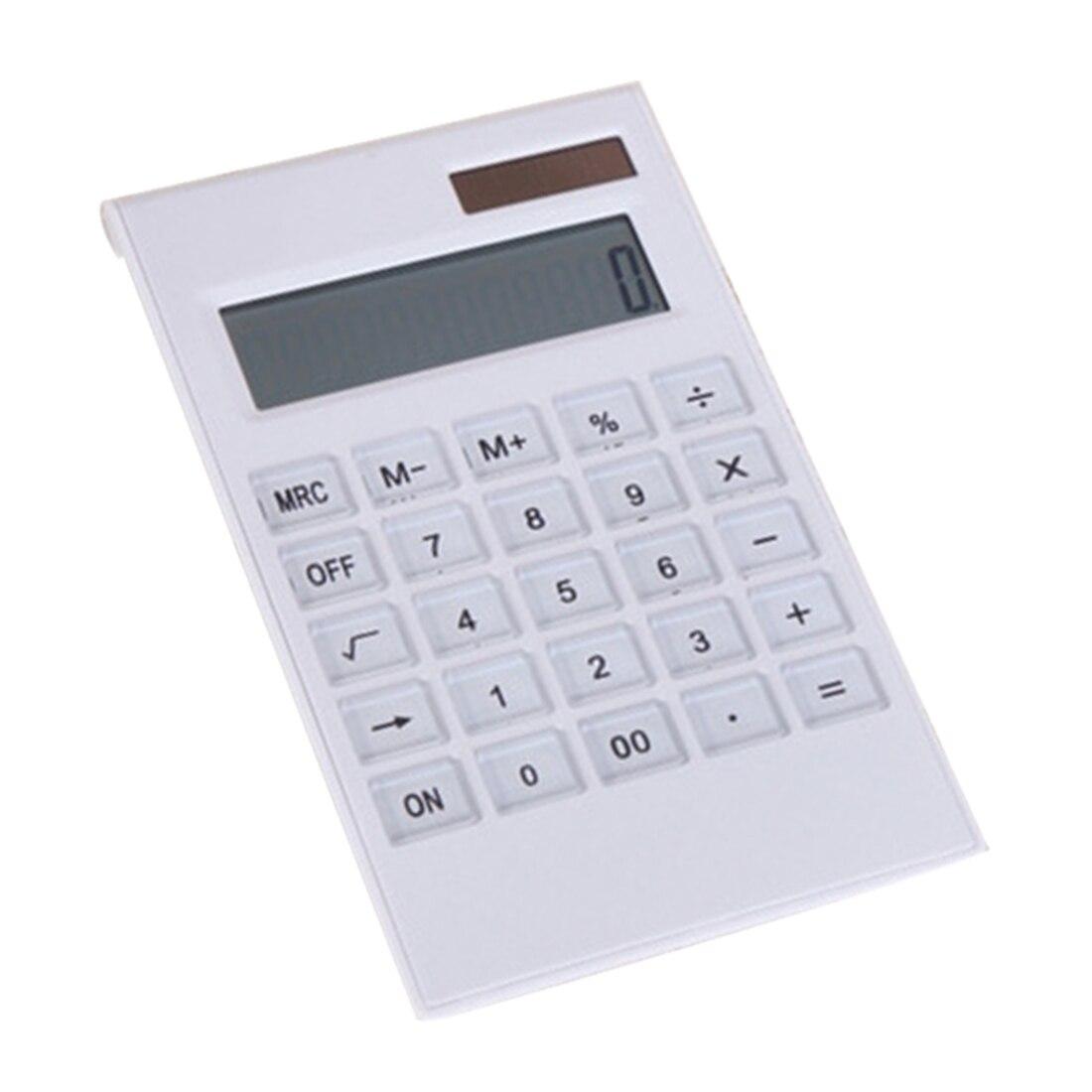 NOYOKERE Portable Creative Slim Mini 12 Digital Calculator Solar Energy Crystal Keyboard Dual Power Supply