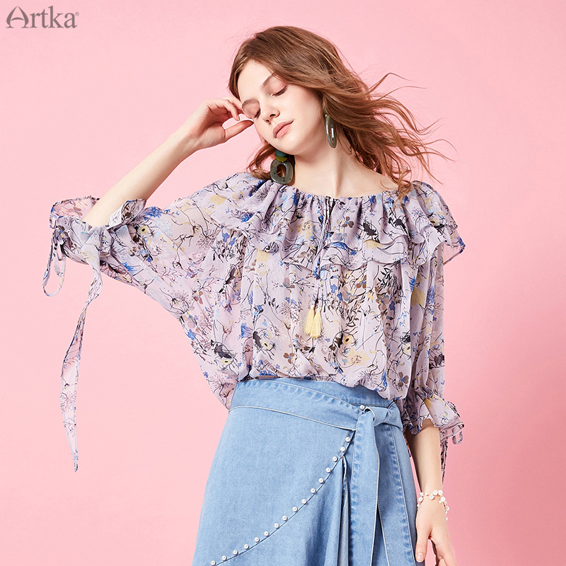 ARTKA 2019 Spring Summer Women Bohemian Blouse Fashion Ruffles Sleeve Design Cute Women Shirt Floral Printed