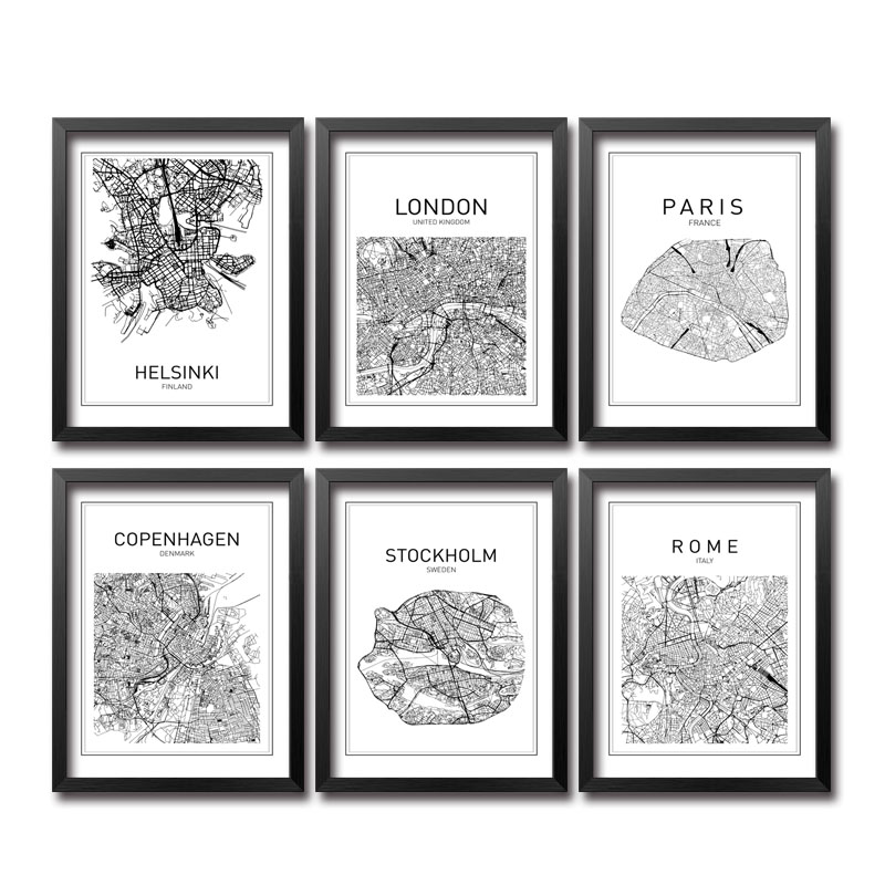 2017 new arrival fashion black white world map canvas art print painting poster wall picture for home decoration home decor 204 in painting calligraphy