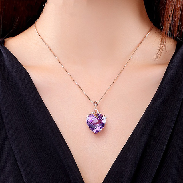 Women Necklace Pendant High Quality Heart Shape Amethyst Pendant Rose Gold Necklace Jewelry Charm Wedding Party Fine Jewelry 2