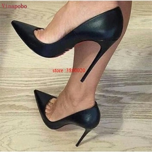 Image 4 - 브랜드 신발 여성 하이힐 여성 신발 펌프 여성용 Stilettos 신발 블랙 브라운 하이힐 12CM 무광택 가죽 웨딩 슈즈