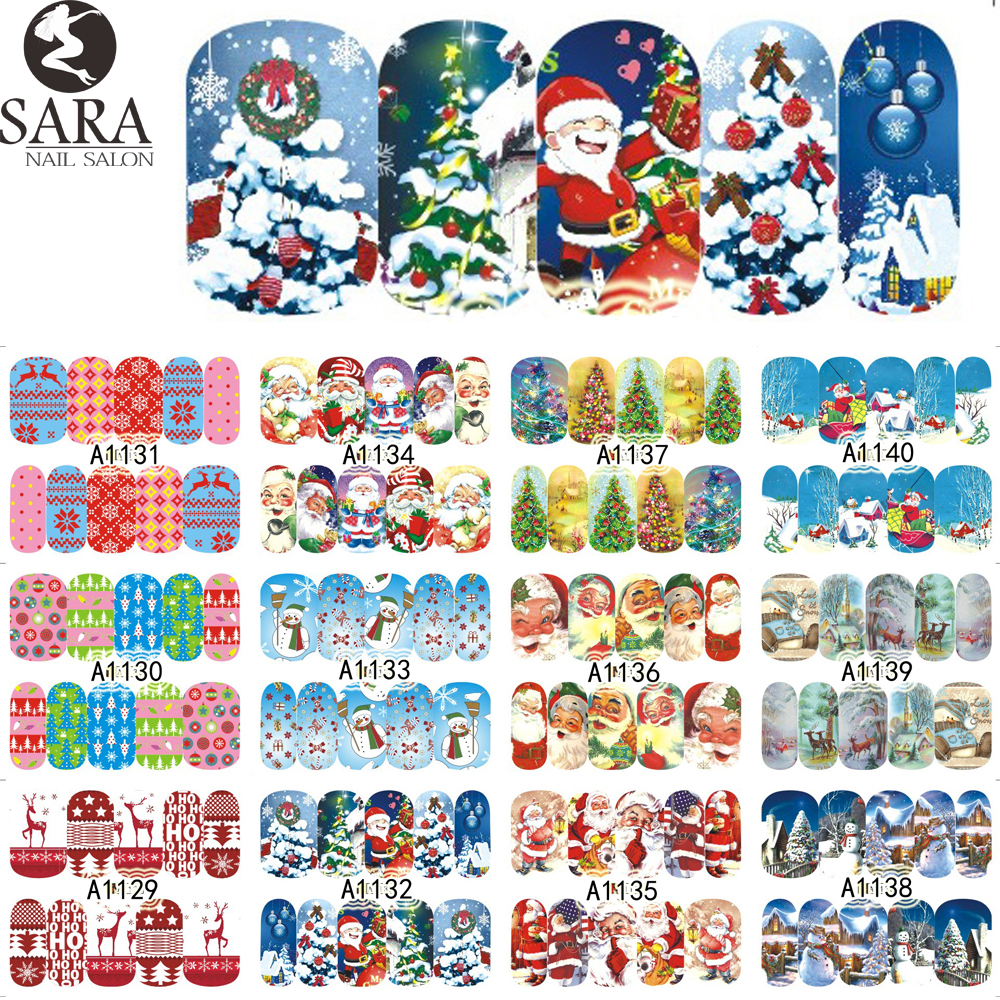 Nail Salon 1pcs Christmas Santa Sticker Water Transfer Nail Art Stickers Nails Decals Temporary Tattoos Tips SAA1129-1140 nail art water transfer stickers christmas style mix santa claus bell gift angel etc12 design decals christmas decoration set