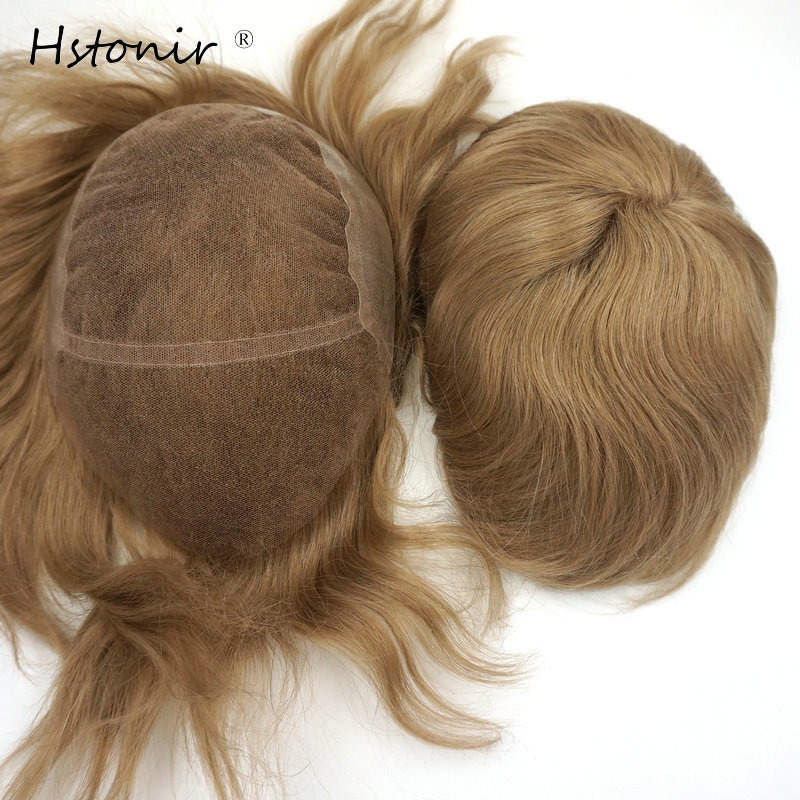 Hstonir Remy Hair Piece Toupee For Man Blond Stock Fast Delivery Human Lace Front Wig Lace For Wigs Man H039