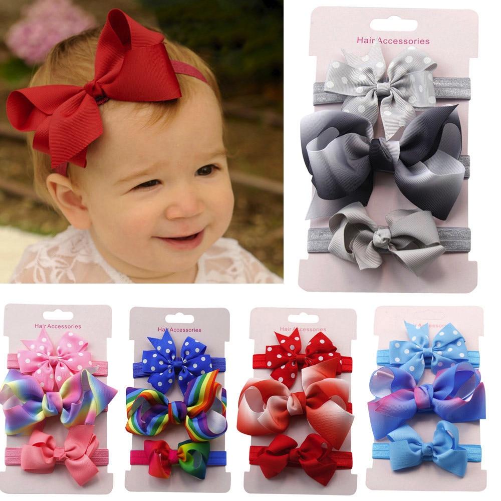 Yundfly 3pcs/lot Ribbon Bow Headband Set Kids Baby Elastic Hair Bows Headband Bowknot Hairband Set Cute Gift for Children Babys