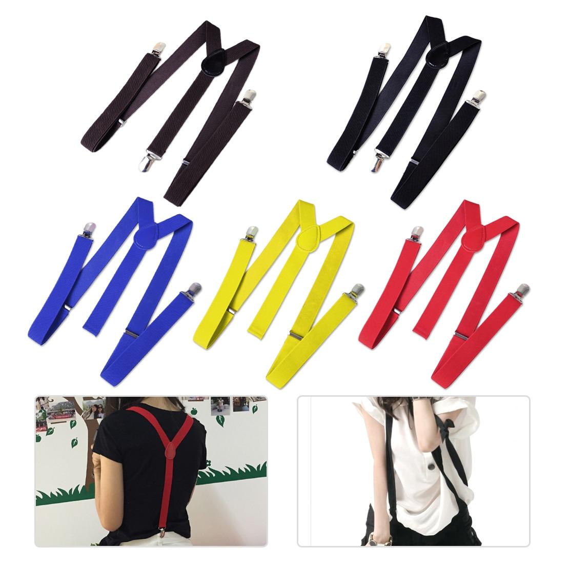 Magas színvonalú férfiak nők diák Unisex 5 színben függő rugalmas csíptető egyszínű nadrág farmer Y-alakú állítható nadrágtartó