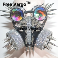Голографическая Streampunk горный хрусталь очки горящий человек заклепки маска Хэллоуин рейв сценические костюмы косплей фестиваль одежда нар