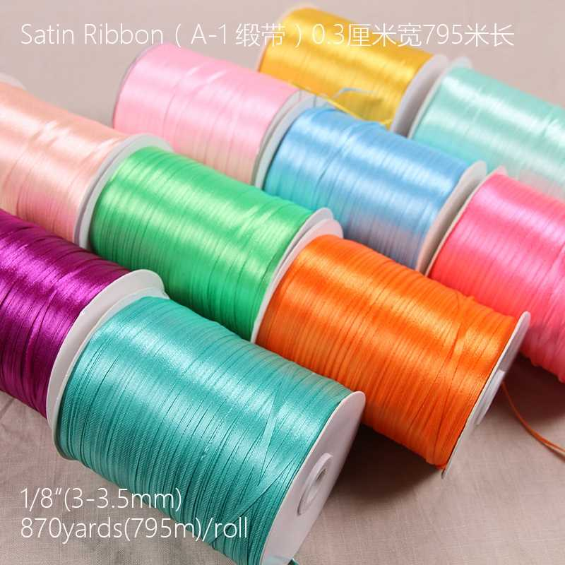 "1/8"" 3mm ribbons Lots Colors Solid Color Satin Ribbons Wedding Decorative Gift Box Wrapping Belt DIY Crafts  A"
