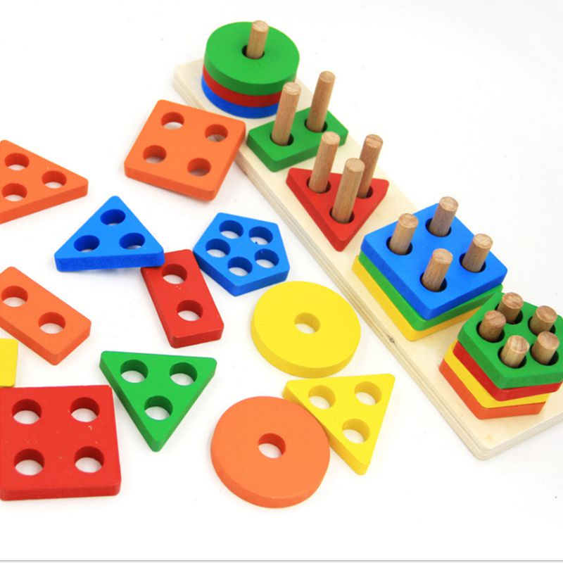Children Wooden Educational Shape Color Recognition Geometric Board Block Stack