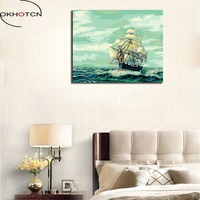 OKHOTCN Plain Sailing Max Size Framed Pictures Painting By Numbers DIY Digital Oil Painting On Canvas