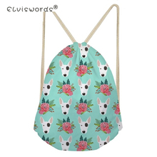 ELVISWORDS Drawstring Bag for Men Women Bull Terrier Flower Pattern Backpack Boys Daypack Kids Travel Satchel Softback Mochilas