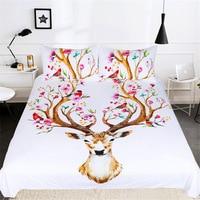 CAMMITEVER Colorful Deer Duvet Cover Set 3 Pieces Super Soft Bedclothes Deer Printed Bedding Set Luxury