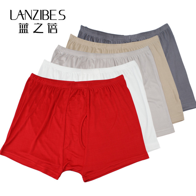 Blue silk male boxer shorts mulberry silk knitted panties antibiotic plus size red The big size