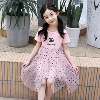 HSSCZL Girls dresses 2019 new kids girl dress party princess summer short sleeve Mesh fashion pink clothes Lace Pretty sweet4 14