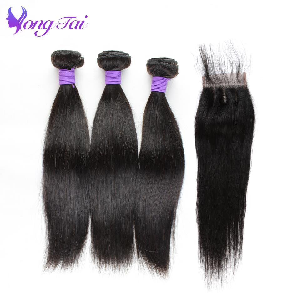 Yuyongtai Peruvian Straight Human Hair 3 Bundles With Closure With Baby Hair Natural Black Non Remy