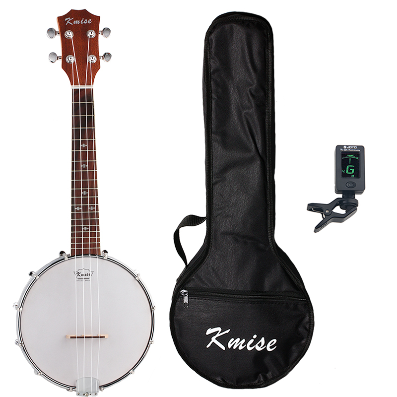Kmise 4 String Banjo Ukulele Uke Ukelele Concert 23 Inch Size Sapele with Bag Tuner concert acoustic electric ukulele 23 inch high quality guitar 4 strings ukelele guitarra handcraft wood zebra plug in uke tuner