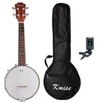 Kmise 4 String Banjo Ukulele Uke Ukelele Concert 23 Inch Size Sapele With Bag Tuner