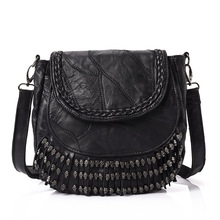 Tassel Skull Heads Designs Women Messenger Bag Quality Genuine Sheepskin Leather Female Shoulder Bag Thread Casual Crossbody Bag