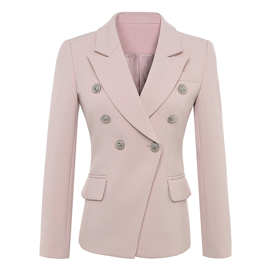HIGH QUALITY Newest 2020 Baroque Designer Blazer Women's Long Sleeve Double Breasted Metal Lion Buttons Blazer Jacket Outer