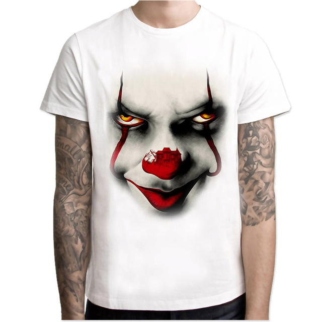 pennywise style design t shirt man summer tops Tees short sleeve O-neck comfortable T-shirt white casual tshirt MR4316