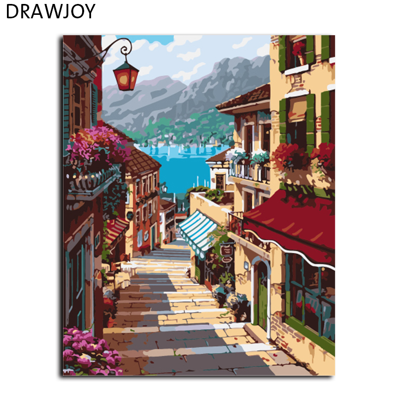 DRAWJOY Framed Landscape Painting & Calligraphy DIY Painting By Numbers Acrylic Canvas Paintings Home Decor GX7248 40*50cm