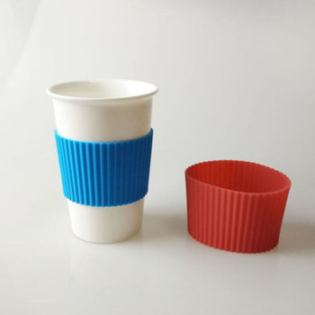 100pcs Height:5.5cm Food Grade Silicone Wraps For Mugs Ceramic Cup Sleeves Recyclable Heat Insulation ZA5987