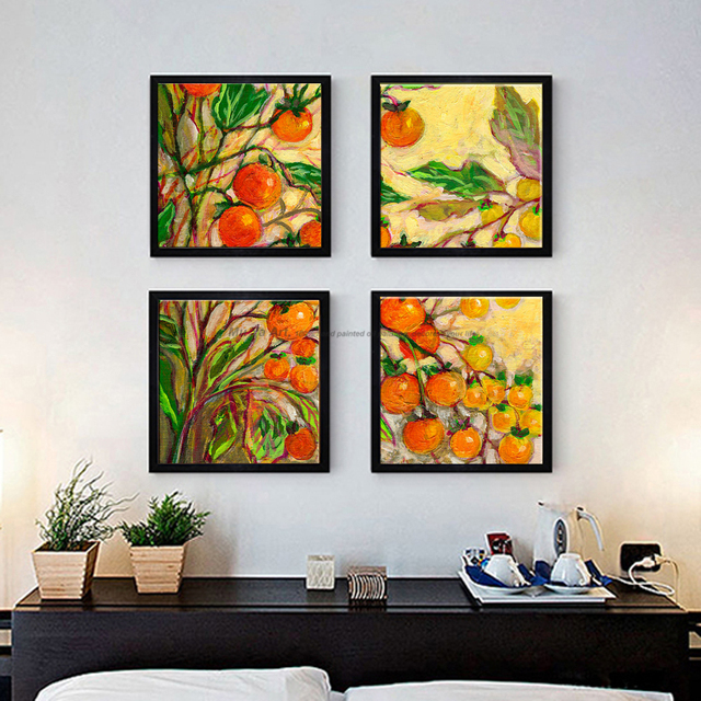 4 Piece Canvas Art Modern Abstract Handmade Fruits Oil Painting On Canvas  Wall Pictures For Living