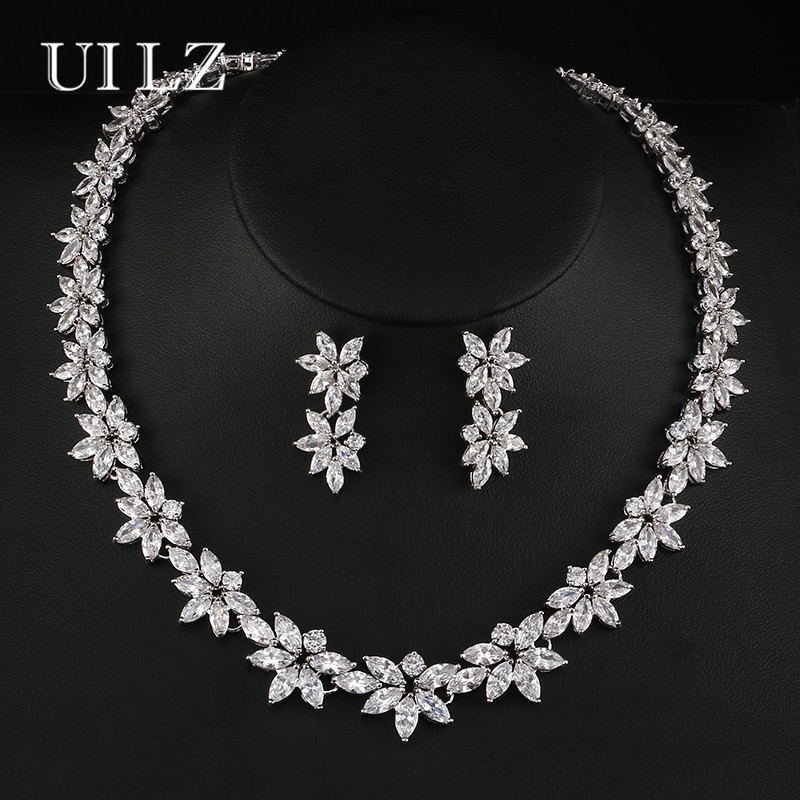 UILZ Sparkly Rhinestone CZ Bridal Jewelry Sets For Women Flower Shape Earrings Necklace Set Wholesale Jewelry US131 2017 african wholesale round silver plated rhinestone with square shape earrings jewellery sets for women