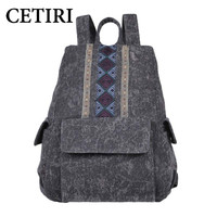 Chinese Retro Style Women Embroidery Backpack Ethnic Characteristics Of Leisure Canvas Backpack Shoulder Satchel Bag CETIRI