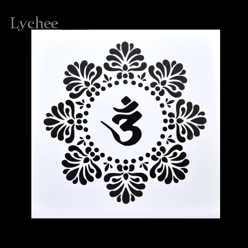 Lychee Scrapbooking Tool Card DIY Album Masking Spray Painted Template Drawing Stencils Laser Cut Templates Lotus Zen Yoga 1 design laser cut white elegant pattern west cowboy style vintage wedding invitations card kit blank paper printing invitation