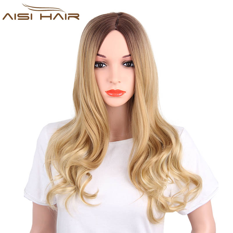I's a wig Synthetic Ombre Wigs for Black Women Long Wavy Dark Brown to Blonde Two Tone Heat Resistant Fiber Hair